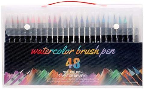 RIANCY 水彩毛筆 カラー筆ペン48色セット 水性筆ペン 水彩ペン 絵描き 塗り絵 美術用 事務用 画材 子供用画材 収納ケース付き