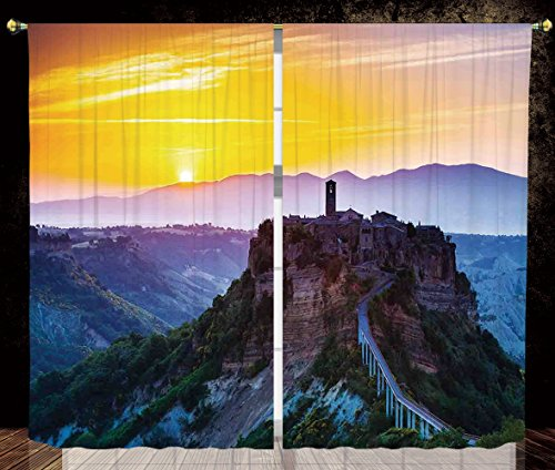 Castle Tuscan 2 Light - 2 Panel Set Thermal Insulated Blackout Window Curtain,Tuscan Decor Old Historic Castle and Town on Top of the High Hills in Italian Renaissance at Sunset Print Multi,for Bedroom Living Room Dorm Kitch