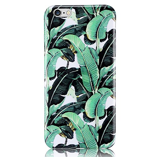 iPhone 6S Plus Case, Leminimo(TM) Anti Shock Design TPU Flexible Case For iPhone 6 6S Plus [5.5 inch Display] - Banana Leave Pattern Slim Fit Snap On Shell Full Protection Case(2016 Summer) -
