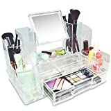 Ikee Design Cosmetic Makeup Box Organizer Storage with Removable Mirror