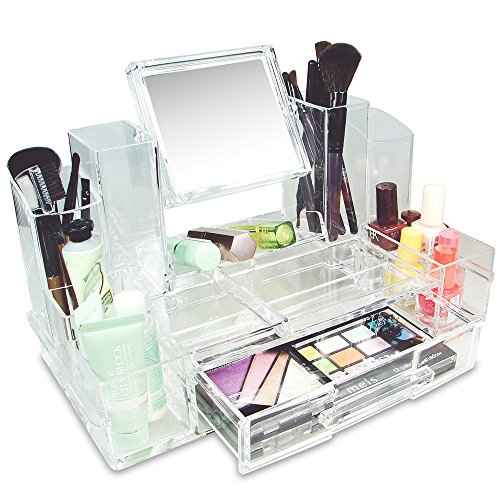 Ikee Design Cosmetic Makeup Box Organizer Storage with Removable Mirror by Ikee Design