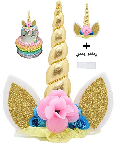 Figurines & Miniatures Handmade Unicorn Birthday Cake Toppers Set Unicorn Horn Ears Flowers Kit Decoration For Baby Shower Wedding And Birthday Party Home & Garden