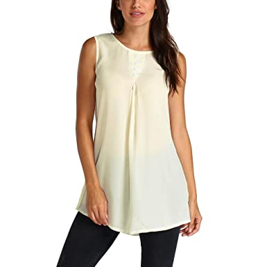 1197322df77830 Tsmile Womens Summer Chiffon Sleeveless Vest T-Shirt Blouse Casual Tank Loose  Tops Beige