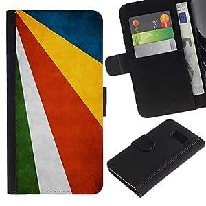 EJOY---La carpeta del tirón la caja de cuero de alta calidad de la PU Caso protector / Samsung Galaxy S6 / --Nacional bandera de la nación País Seychelles