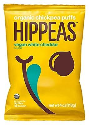 Hippeas Organic Chickpea Puffs, White, Vegan Cheddar, 4 oz., 10 Count by Wyandot Inc