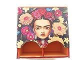 Verbluffung Tea Bag Dispenser with Frida Kahlo Image 6.6'' x 6.6'' x 3.3''