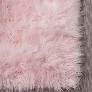 Serene Super Soft Faux Sheepskin Shag Silky Rug Baby Nursery Childrens Room Rug Light Pink, 5' x 7'