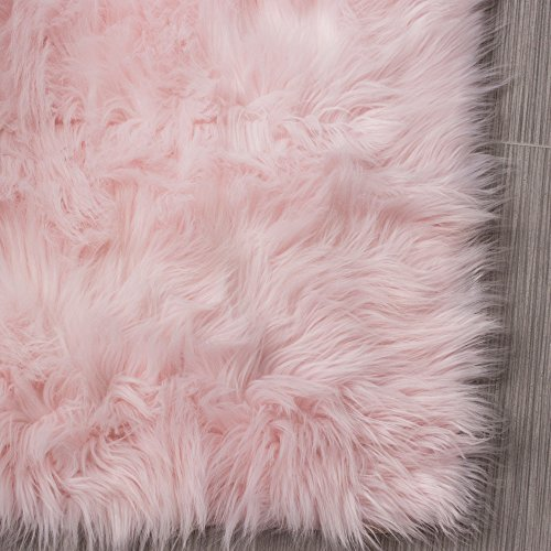 Serene Super Soft Faux Sheepskin Shag Silky Rug Baby Nursery Childrens Room Rug Light Pink, 2' x 3'