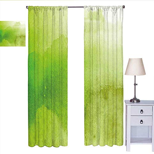 MartinDecor Sage Country Curtain Watercolors in Green Tones Abstract Blurred Dreamy Background Grungy Look Short Curtain Apple Green Fern Green W72 x L108