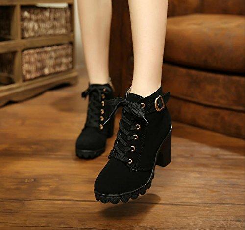 Donyyyy Tabla impermeable, de tacón alto, zapatos de mujer, botas cortas, tacones, tabla impermeable, zapatos de mujer de cabeza redonda. Forty-one