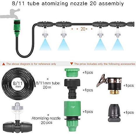 ZHAS Sistema de rociadores semiautomáticos de balcón para el hogar Dispositivo de atomización Boquilla de Cabezal de Micro pulverización Bebedero de Polvo (Color: Tubo 20M 20 boquillas)