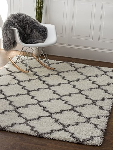 Soft Shag Area Rug 3x5 Geometric Striped Turquoise Grey