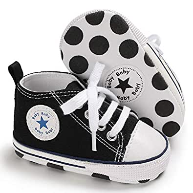 Meckior Baby Girls Boys Canvas Shoes Soft Sole Toddler First Walker Infant High-Top Sneakers Newborn Crib Shoes (11cm(0-6months), A-Black)