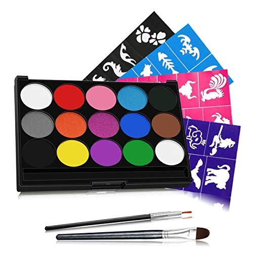 Pregnancy Belly Painting Kit - Face Painting Kits, 15 Colors 40 Stencils 2 Brushes, Water Based Non-Toxic Safe for Kids, Ideal for Halloween Body Makeup Party Supplies