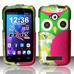 Rubberized Plastic Green Owl Hard Cover Snap On Case For BLU Tank 4.5 W110i (Accessorys4Less)
