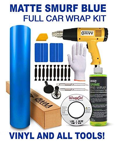VViViD+ Complete Matte Vinyl Car Wrap Kit Including All Tools (Full SUV Wrap Kit (75ft), Smurf Blue)