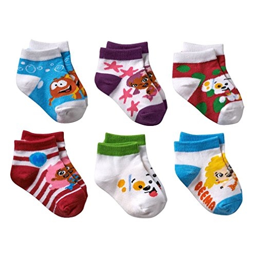 Nickelodeon Little Girls' Bubble Guppies socks - 6 Pack (2T-4T)