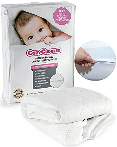 "COZYCUDDLES Premium Zippered Quilted Waterproof Crib Protector & Cover - Bedbugs Proof Fully Encasement Standard Baby Crib & Toddler Bedding (52"" x 28"") from COZYCUDDLES"