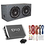 Kicker 43C124 1000W 12-Inch Subwoofers with Sealed Box Enclosure with Amp with Wiring (Pair)