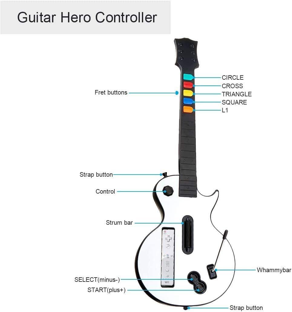 Guitarra Wii Blanca,DOYO Controlador de Guitarra Wii desmontable, Nintendo Wii Guitar Hero y Rock Band Game para Guitarra Inalámbrica.: Amazon.es: Videojuegos