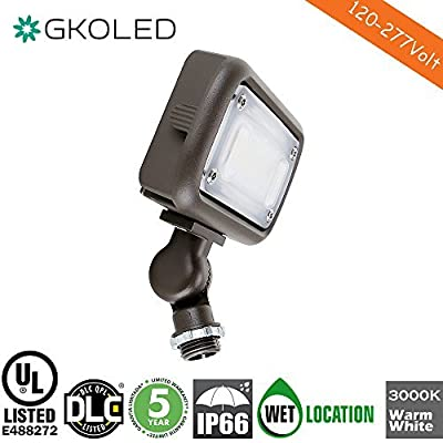 """15W Outdoor LED Flood Security Lights, Waterproof Landscape Lighting, 50W PSMH Equivalent, 1370 Lumens, 3000K Warm White, 120-277V, 1/2"""" Knuckle Mount, UL-Listed DLC4.2 Qualiified, 5 Years Warranty"""