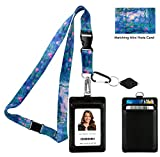 #7: Claude Monet Water Lilies 1917 Print Lanyard with PU Leather ID Badge Holder Wallet with 3 Card Pockets, Safety Breakaway Clip & Matching Note Card. Gift of Carabiner Keychain Flashlight.