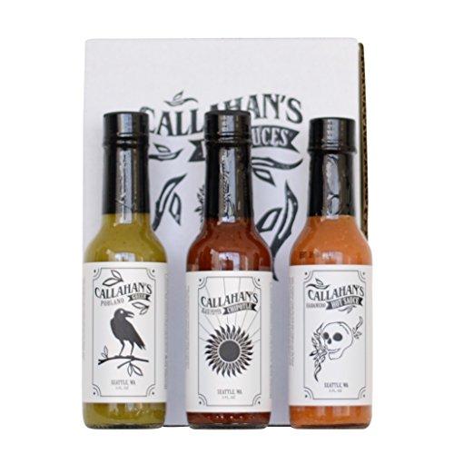 Callahan's 5 oz Gourmet Hot Sauce Gift Set - Habanero, Poblano, Black Pepper Chipotle by Callahan's Hot Sauce