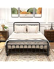 DUMEE Queen Bed Frame with Headboard and Storage No Box Spring Needed Metal Platform Bed Frame Queen Size with Bed Slats Support,Textured Black