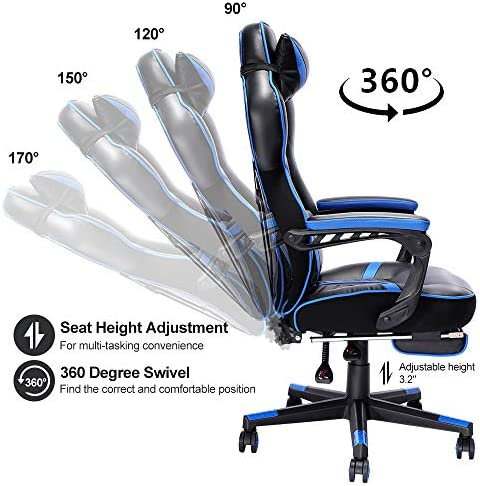 Bonzy Home Gaming Chair Office Desk Computer Chairs with Footrest Adult High Back Armrest Ergonomic Design with Adjustable Height and Lumbar(Blue) 51xmPcXRMKL