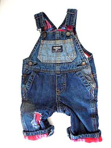 OshKosh B'Gosh Baby Boys Plaid Flannel Lined Patch Overalls, Denim/Red (3 Months)