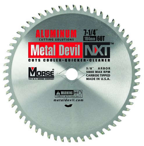 MK Morse  CSM72560NAC Metal Devil Circular Saw Blade, Aluminum Application, 7-1/4-Inch Diameter, 60 TPI, 5/8-Inch Arbor