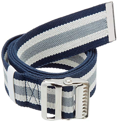 """Transfer Belt with Metal Buckle by LiftAid - Transfer and Walking Aid with Belt Loop Holder for Assisting Patients, Nurses, Therapists, Home Care - 60""""L x 2""""W (Blue White Gray)"""