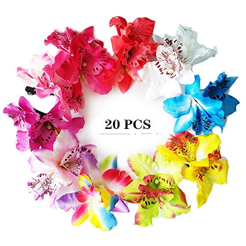 MorningRising 20 Pcs Multicolor Women Girls Orchid Flower Bohemian Leopard Hair Clip Wedding Party Beach Bridal Hairclip Hair Pins Hair Barrette Accessories (Hair Flower Clips)