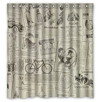 Amazon Vintage Design New Style Classic Newspaper Polyester Bathroom Shower Curtain 66Wx72H Inch Clothing