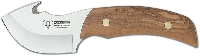 Cuchillo desollador caza Cudeman 137-L mango de madera olivo y hoja de 7,5 cm, con funda, uso deportivo, herramienta de camping para pesca, caza, ...