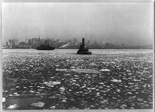 1905 Photo Tugboats and ferry on icy river, with New York City in backgrd.