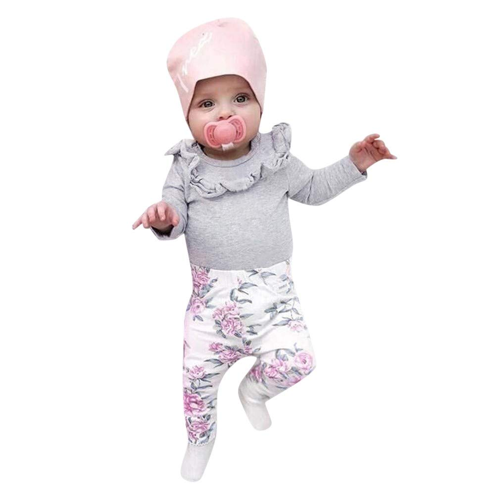 GoodLock Clearance!! Baby Girls Clothes Set Newborn Toddler Ruffles Solid Tops+Floral Lace Pants Outfits 2Pcs (Gray, 24 Months)