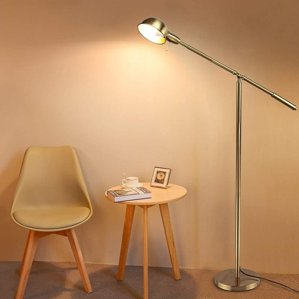 DLLT Metal Floor Lamp, Adjustable Swing Arm Reading Standing Lamp, 9W Modern Pole Light Brass Task Lighting for Living Room, Bedroom, Office, Home Decor, E26 Base, Gold (LED Bulbs Included)