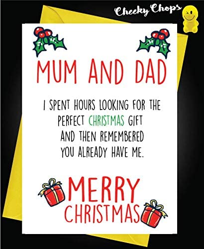 Funny Christmas Card Perfect Gift Mum And Dad Xm130 Amazon Co Uk Office Products