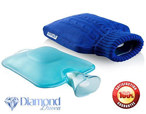 Hot Water Bottle - Made Of Classic Rubber With Large Size, Best For Quick Pain Relief & Comfort With Elegant Knitted Water Bottle Cover - Blue By Diamond Driven