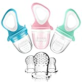 MICHEF Baby Food Feeder (3 Pack) - Baby Fresh Fruit Feeder Pacifier with 3 Different Sized Silicone Teething Pacifiers, Baby Fresh Food Feeder Feeding Teething Toys Teether