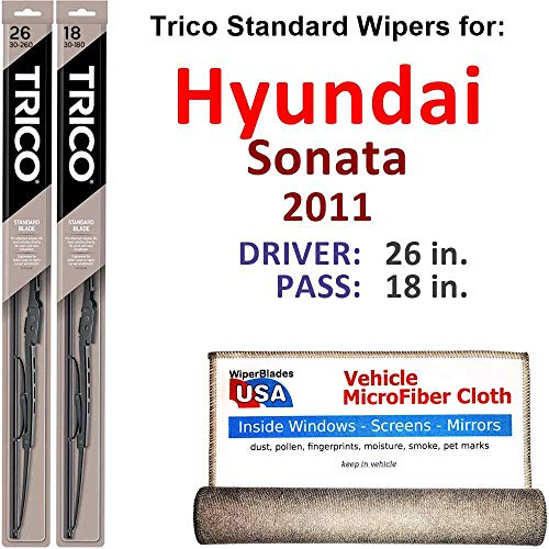 - Wiper Blades for 2011 Hyundai Sonata Driver & Passenger Trico Steel Wipers Set of 2 Bundled with Bonus MicroFiber Interior Car Cloth
