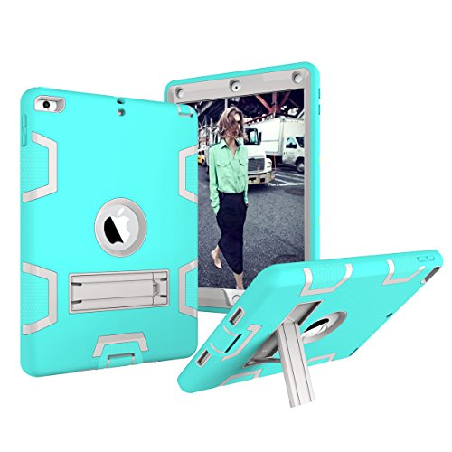 New iPad 9.7 Inch 2017 Case,None Drop Protection Surface Anti-scratch Shockproof Rubber Bumper Protective Defender Case Cover for New iPad 9.7 Inch 2017 Mint Green + ()
