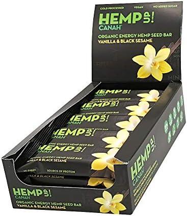 Canah Hemp Up Barritas Energéticas Orgánicas con Semillas de Cáñamo, Vainilla y Sésamo Negro, Paquete de 15 x 48 grams 100% Natural, Fuente de ...