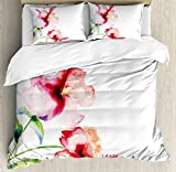 Ambesonne Watercolor Flower Duvet Cover Set Queen Size by, Hibiscus Flowers on Plain Background in Pastel Colors Nature Home Decor, Decorative 3 Piece Bedding Set with 2 Pillow Shams, White Red Green