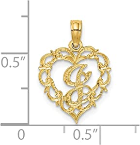 N Script Initial In Heart 14k Yellow Gold Letter Charm Pendant