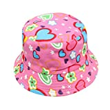 Toddler Infant Kids Sun Cap  Summer Camouflage Floral Pattern Printed Hats Outdoor Baby Girls Boys Sun Beach Cotton Hat for 2-6 Years Old Bucket Hats Sun Helmet Cap (Hot Pink)