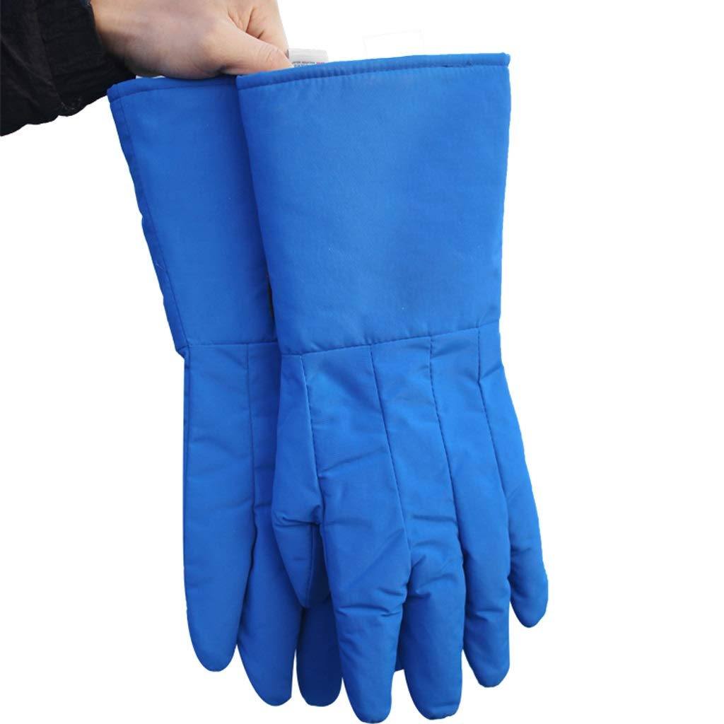 LSLMCS Gardening Gauntlet Gloves Low Temperature Resistant liquidcold Storage Dry ice Cold Warm Gloves Welders Gloves Outdoor Wear Resisting Puncture (Color : Blue, Size : S)