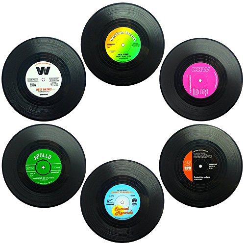 6 Piece vinyl record drink coaster  set