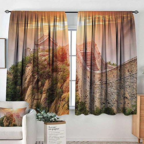 Great Wall of China Window Curtain Fabric Sunrise Horizon on Traditional Stone Building Empire Culture Design Door Curtain Blackout 72
